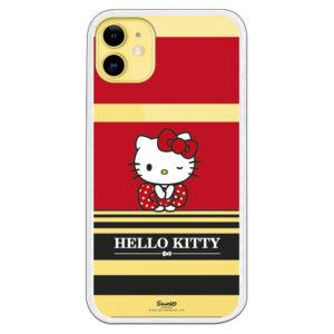 Carcasa móvil Hello kitty blink con fondo rojo y letras blanco y fondo negro
