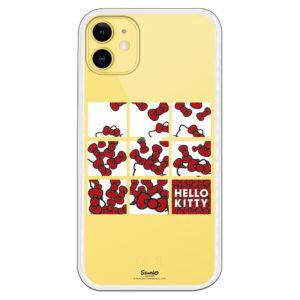 Carcasa móvil de Hello Kitty con fondo corazones y lazitos cuadrados con fondos transparente.