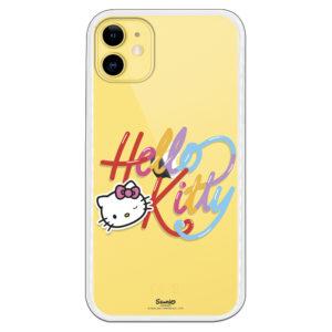 Funda de Hello kitty guiñando un ojo y letras de hello kitty de colores fondo transparente