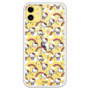 Funda móvil de Hello Kitty con distintas expresiones y arcoiris con fondo transparente