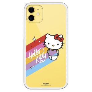 Funda móvil Hello Kitty offical con lazo rojo y arcoiris con letras blanco