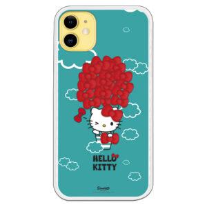 Fondo móvil de Hello Kitty subiendo en un Globo de lazitos ascendien al cielo con nubes