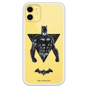 Funda móvil Batman en triangulo y simbolo de batman volando con fondo transparente.