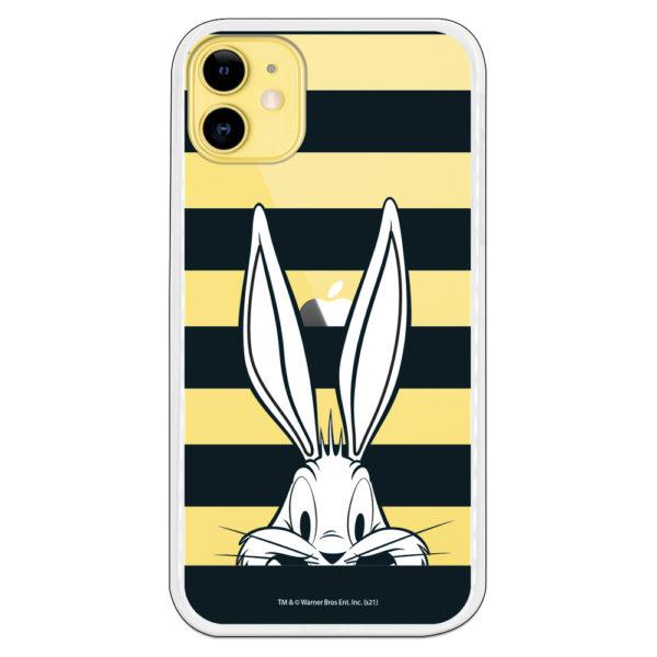 Funda móvil Bugs Bunny blanco con líneas negras con fondo transparente