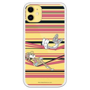 Funda móvil para Huawei de Bugs Bunny y su novia Lola Bunny líneas rosas y negras fondo transparente