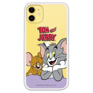 Carcasa para Iphone Tom y Jerry fondo transparente apoyados en mesa