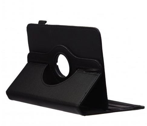 Funda doblada con apoyo Tablet negra de polipiel