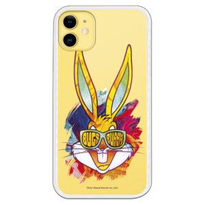 Funda móvil Bugs Bunny de colores con gafas sonriendo fondo transparente