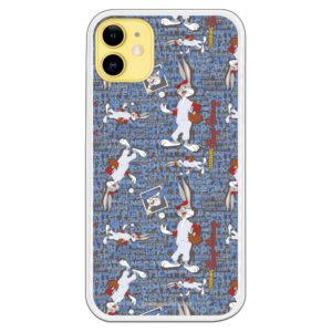 Funda móvil Bugs bunny jugando al Beisbol con letras azules, blanca y fondo negro