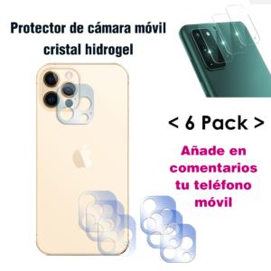 Protector de cámara móvil cristal hidrogel 6 unidades
